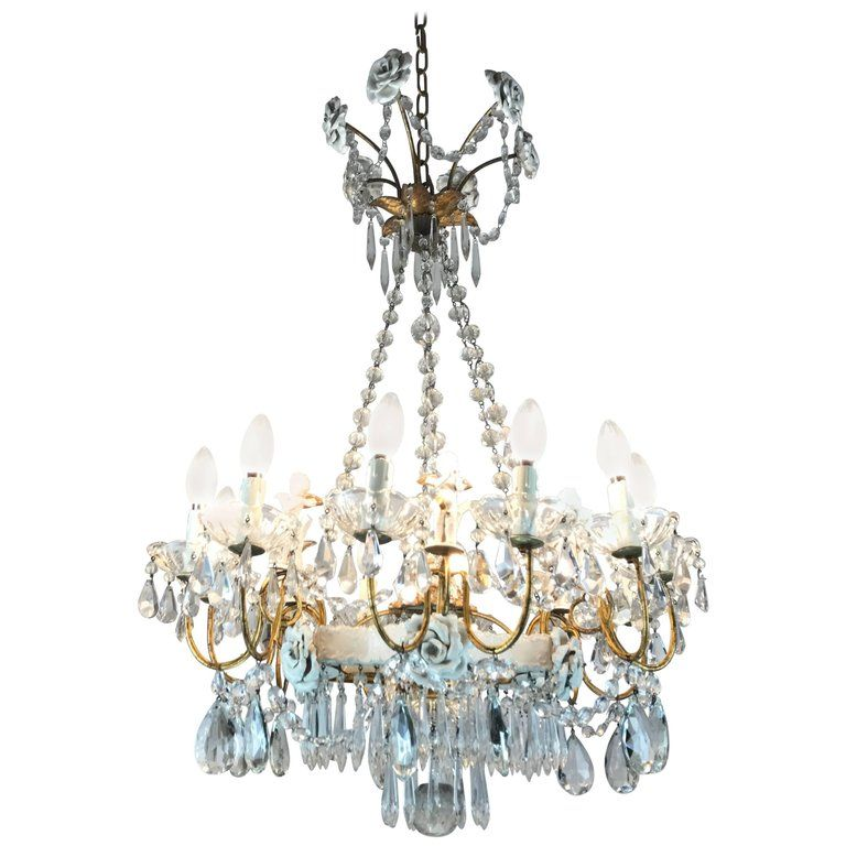 20th Century Crystal Chandelier With Capodimonte Porcelain Putti And Roses