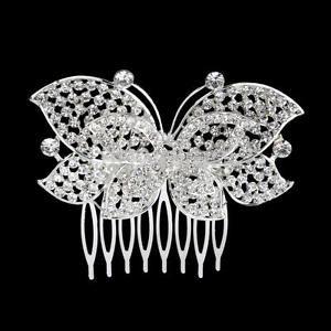 Bridal Wedding Party Flower Leaf Crystal Rhinestone Hair Comb Slides Hair Clip