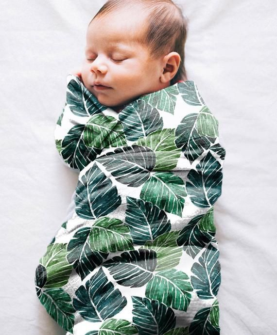 Monstera Leaves Organic Swaddle. Swaddle Blanket. Gauze Muslin. Gender Neutral Swaddling Blanket. Organic Swaddle Blanket. Baby Shower Gift.