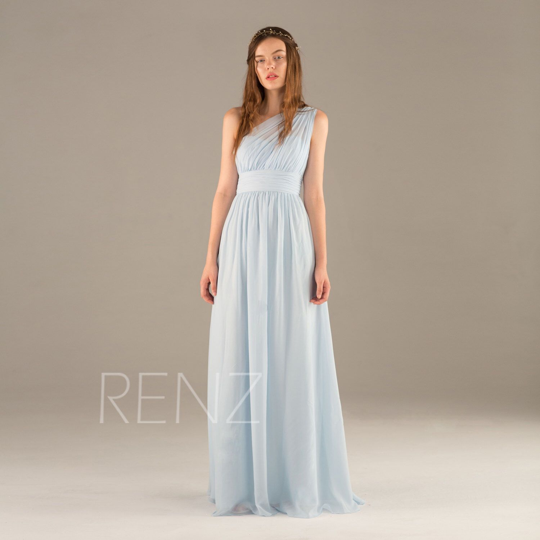 Long light blue bridesmaid dress chiffon maxi dress ice blue one