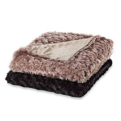 Magnolia Faux-Fur Oversized Reversible Throws - WANT In Black!!  Bed Bath and Beyond $49.99