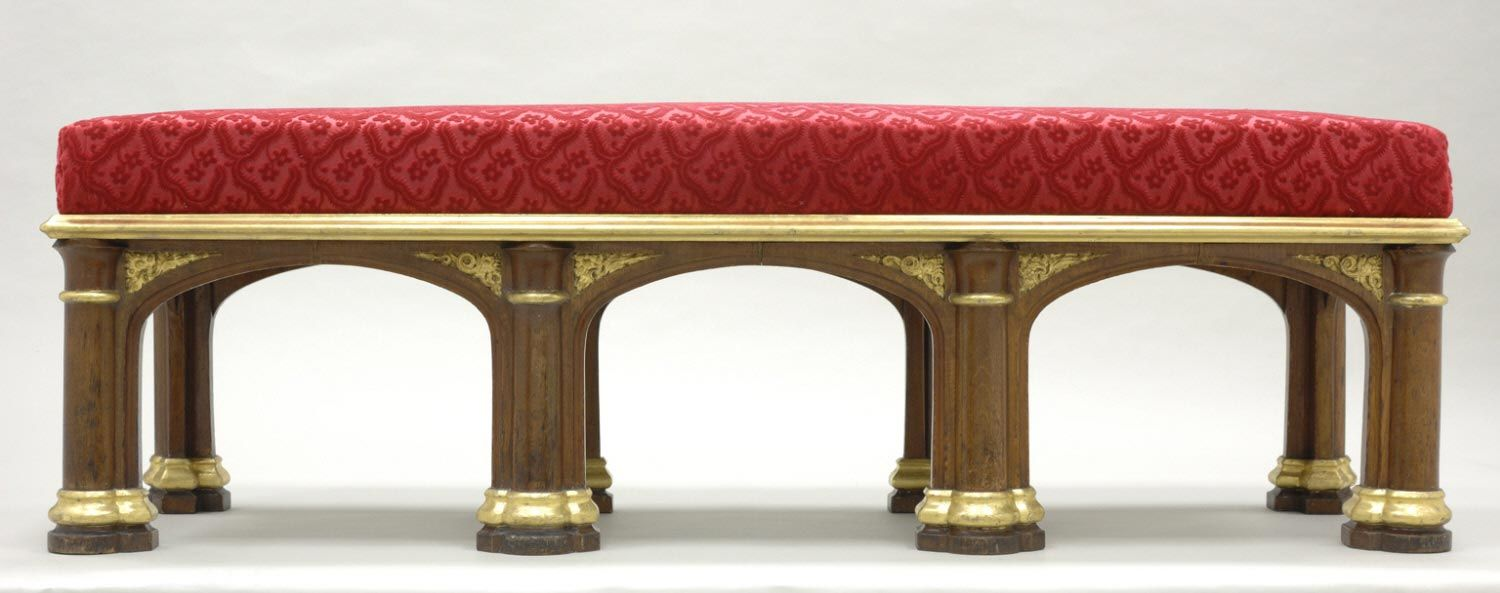 "Bench Designed by Augustus Welby Northmore Pugin Made by Morel & Seddon 1827-28 King George IV of England (ruled 1820–30) ordered this Gothic-style bench as part of the furnishings of Windsor Castle. One of four, it was made for room 194, the so-called ""Visitors Landing."""