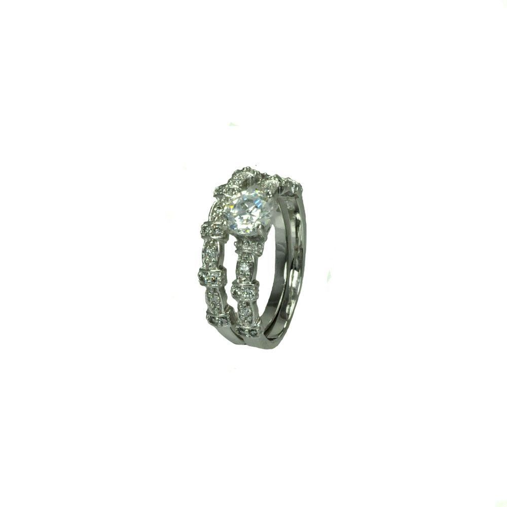 .925 Sterling Silver Rhodium Plated Clear Micro Pave Set Round Center Cubic Zirconia Delicate Estate Ring Set