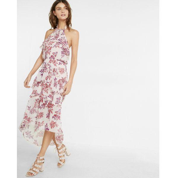 Express Petite Floral Print Tiered Halter Neck Midi Dress (110 CAD ...