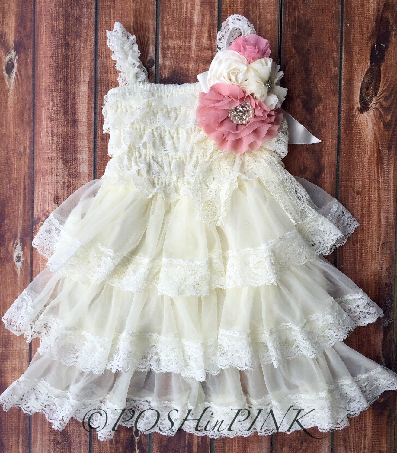 Rustic Girl Dress Pin Ivory Country Rose Pink Cream
