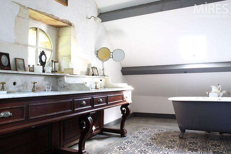 D co r tro salle de bain maison salle de bains wc bathroom pint - Lavabo retro salle de bain ...