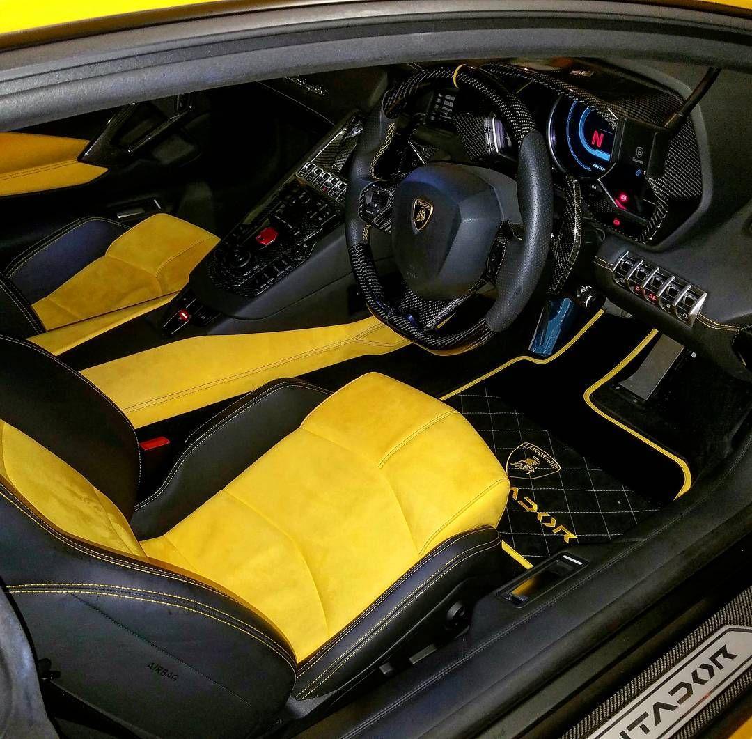 Lamborghini Aventador Yellow And Black Interior Floor Mats Auto