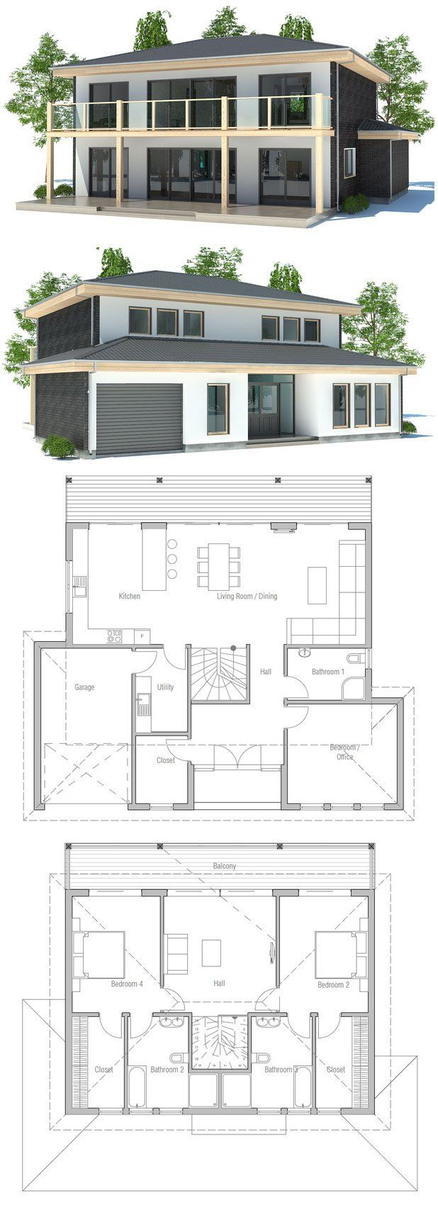 Simple Duplex House Design In Philippines: Small & Simple House Plan In Modern Architecture. Floor
