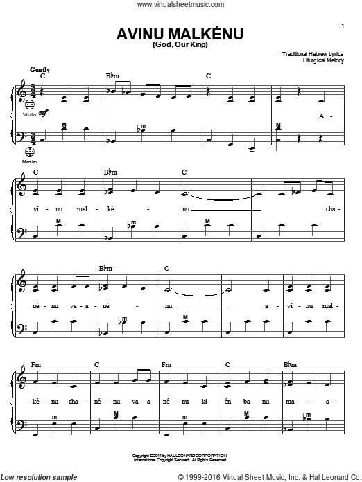 Download and Print Avinu Malkenu (God, Our King) sheet music for ...