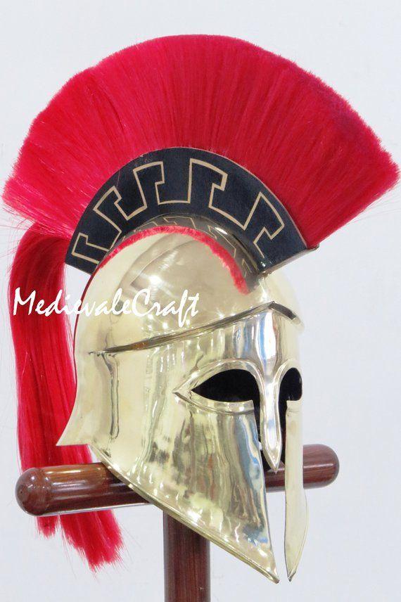 Medieval Wearable Greek Corinthian Helmet Free Leather Liner Knight Christmas f