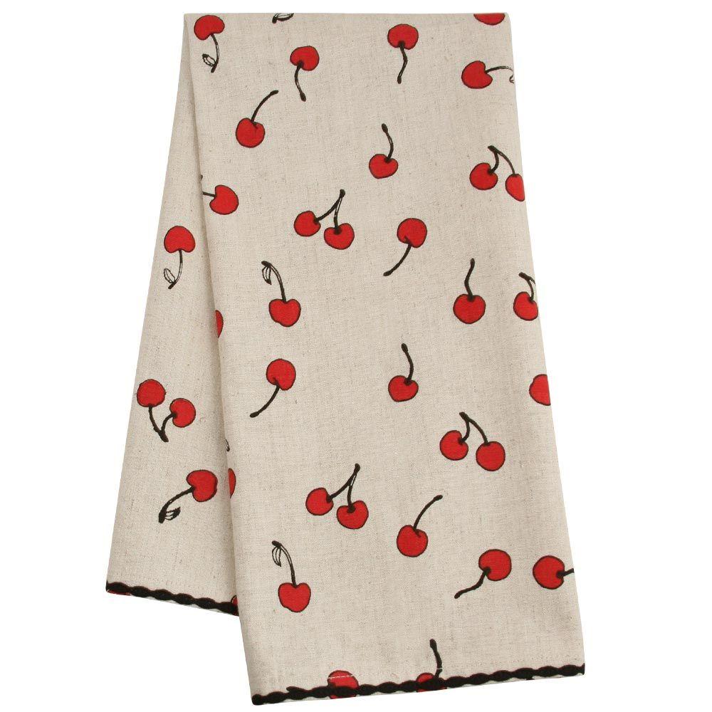 Cherries Dishtowel - Linens - Kitchen & Linens