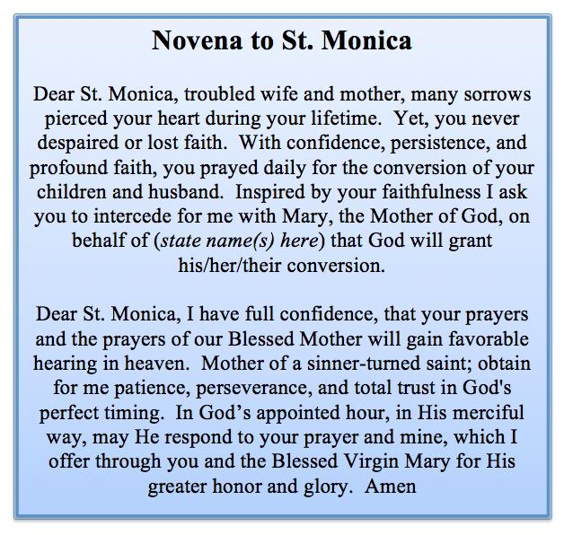 Catholic novena to st monica
