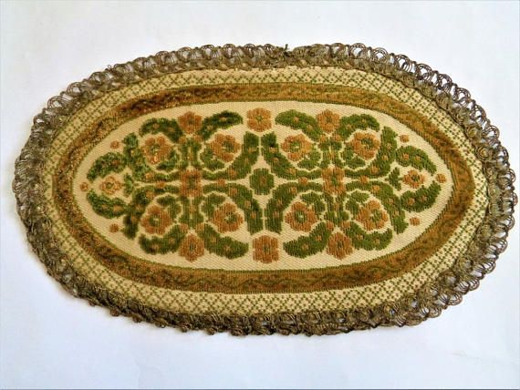 Vintage Brocade Tapestry Table Runner Oval Placemat Brocade