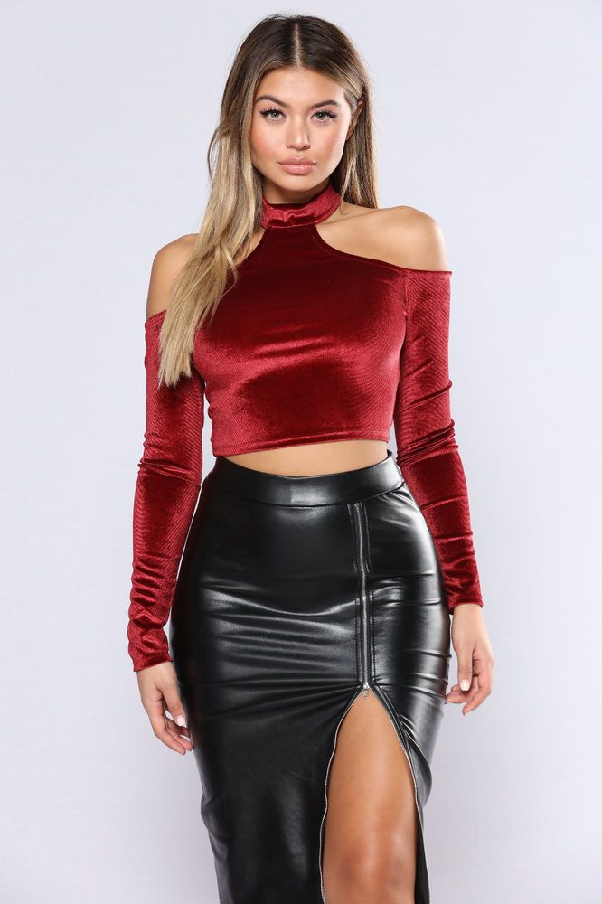 f06e67203e0 Fashion Nova Sexy His Main Lady Velvet Crop Top- Burgundy Red Size Small