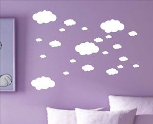 Set of 22 x CLOUDS cloud decal sticker vinyl wall art nursery kids child room