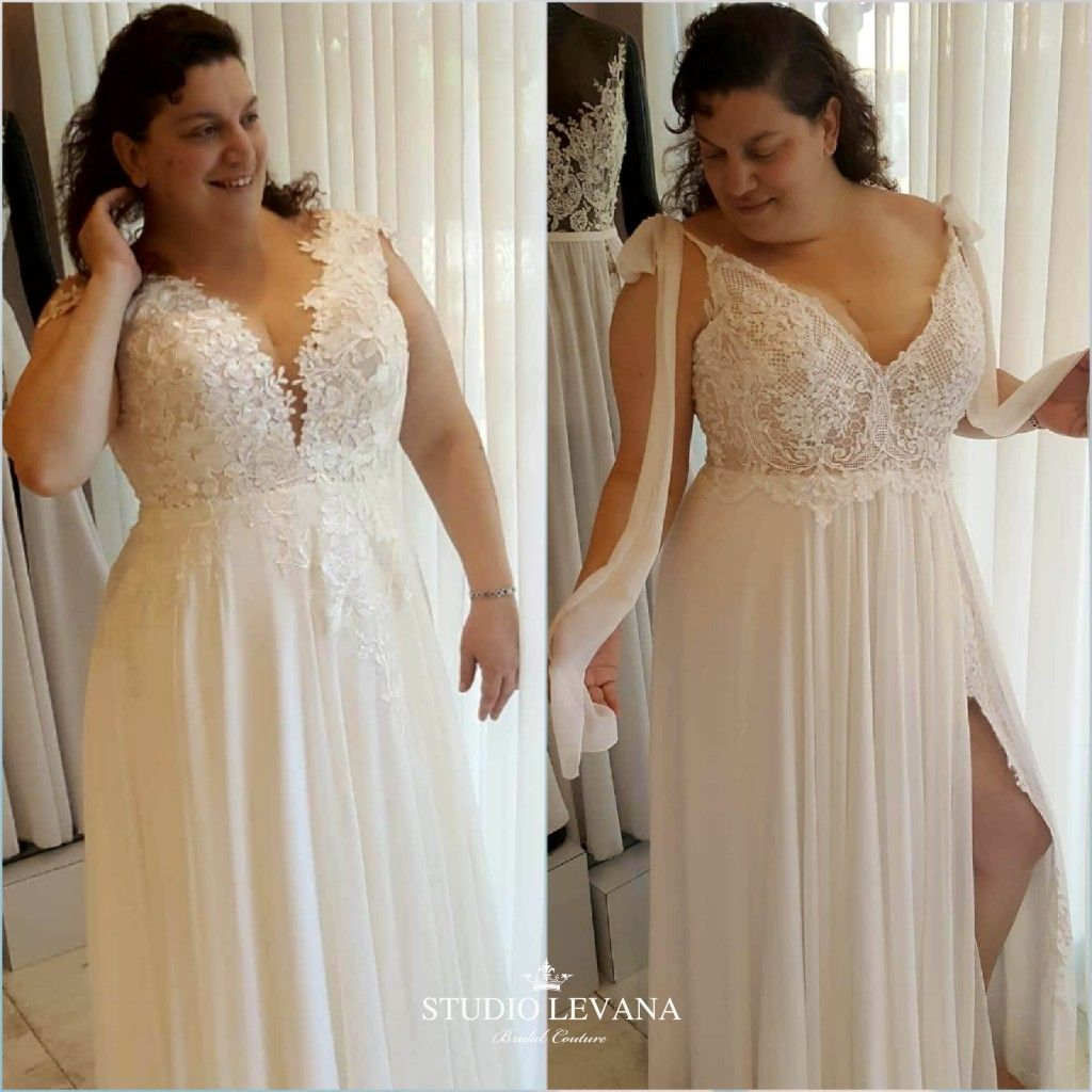 df1041340b39 Gorgeous plus size wedding dresses by Studio Levana on a real bride ...