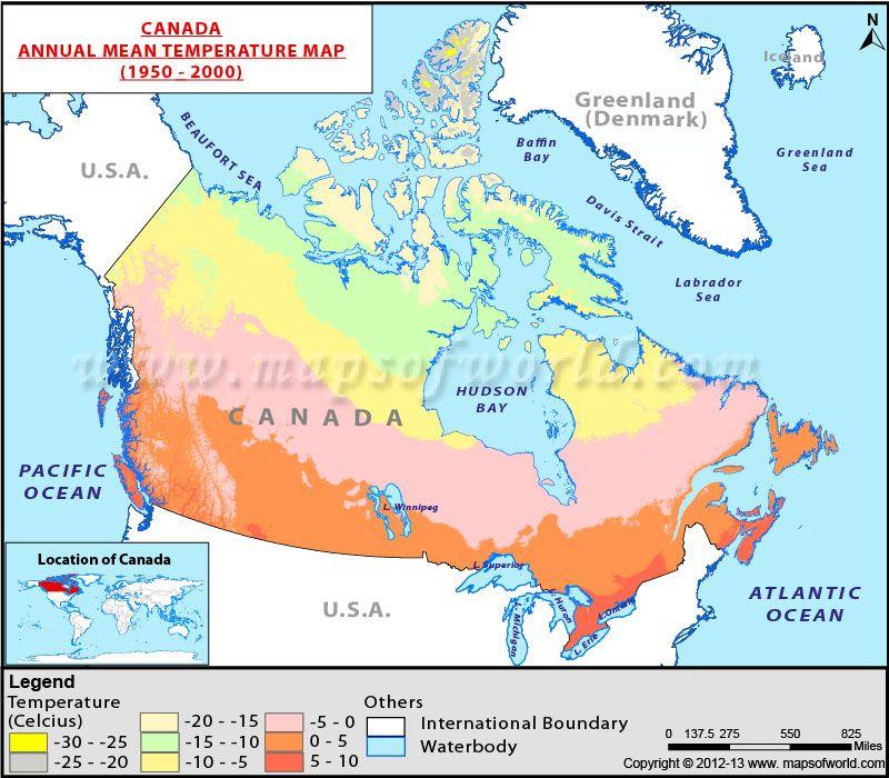 Canada Average Temperature Map Canada Annual Mean Temperature Map | Map, Canada, Temperatures