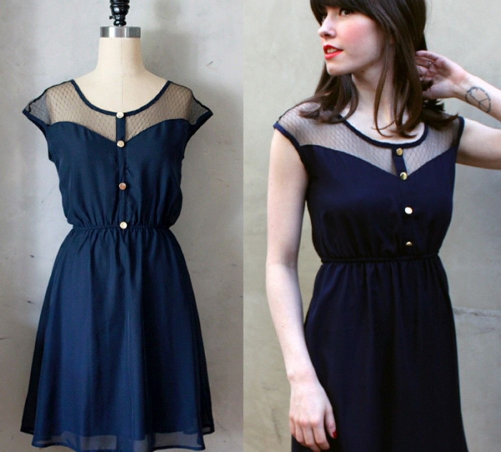 PETIT DEJEUNER DRESS - Navy blue chiffon dress with black lace ...