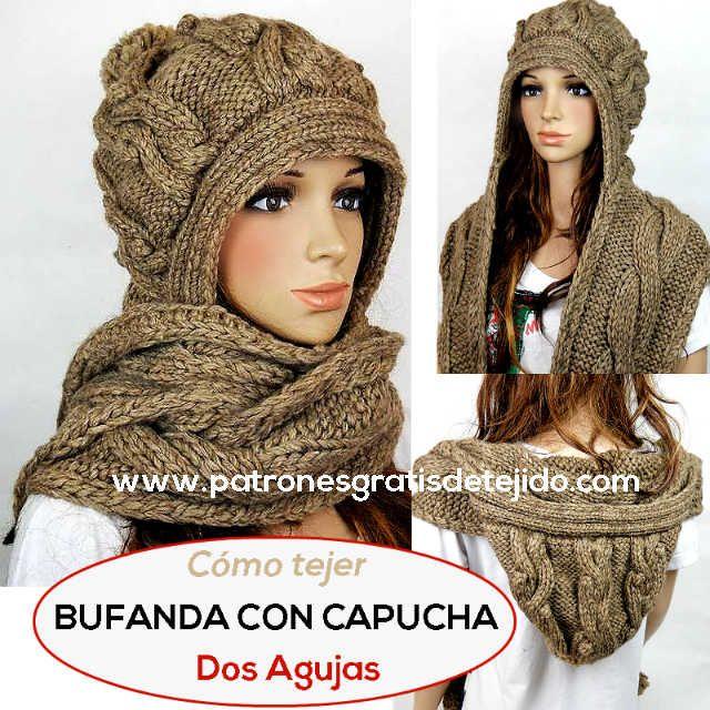 bufanda con capucha en dos agujas | Crochet y Dos Agujas en 2018 ...