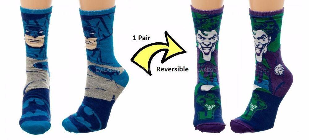 DC Comics Batman /& The Joker Reversible Crew Socks