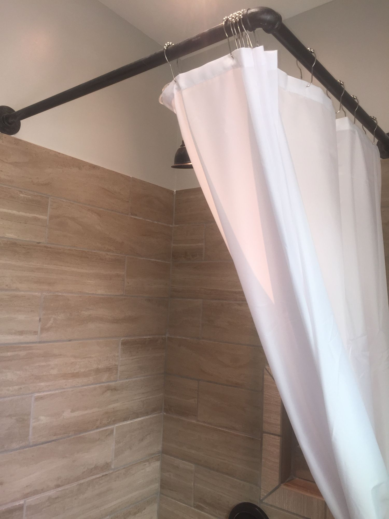 Diy Shower Curtain Rod Our Lake House Remodel On Lake