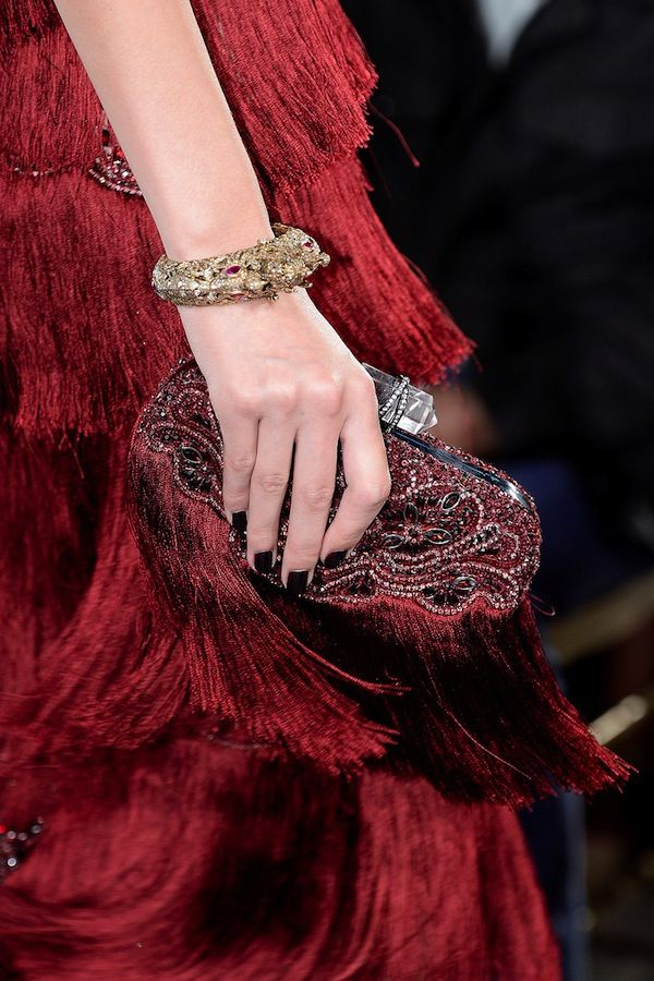 Burgundy red gown and clutch bag. V