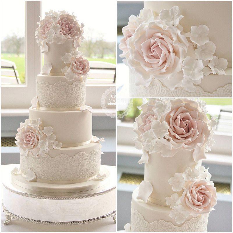 Lace Roses Wedding Cake