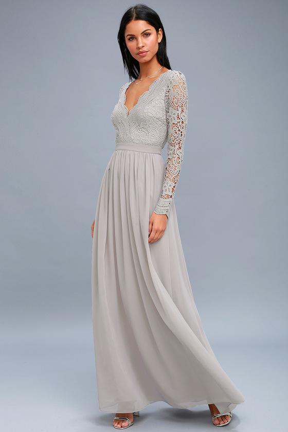 38fa999654f Awaken My Love Light Grey Long Sleeve Lace Maxi Dress 2