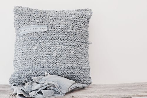 pillow made from old jeans!