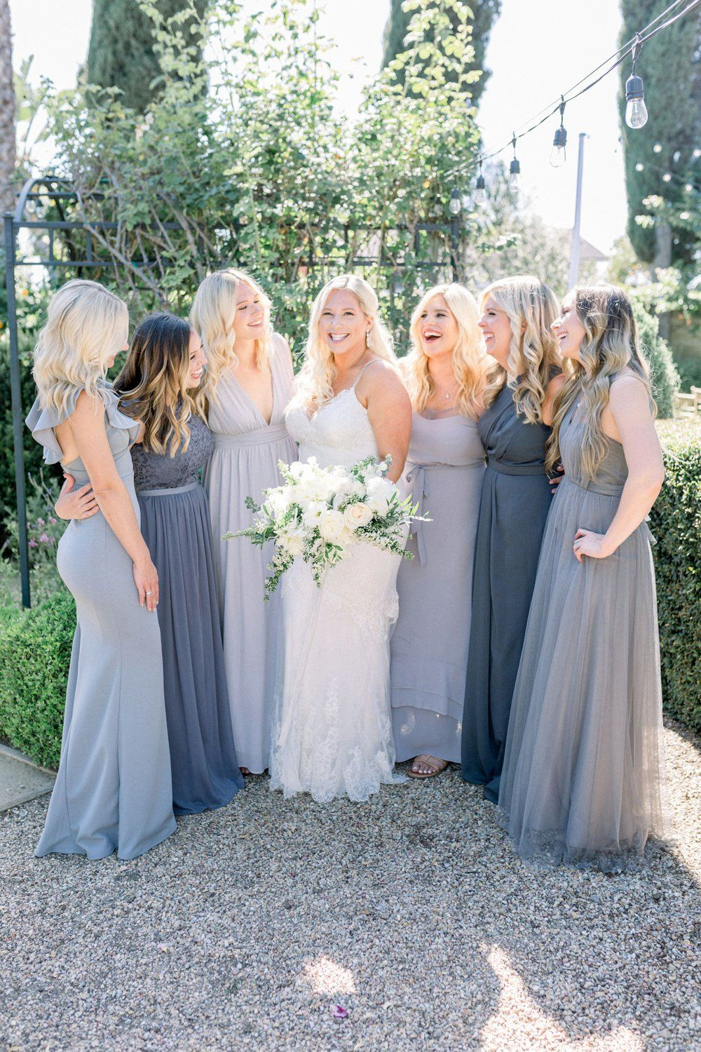 Mismatched Gray Bridesmaids Dresses From The Green And Grey Garden Weddin Blue Bridesmaid Dresses Wedding Bridesmaid Dresses Mismatched Grey Bridesmaid Dresses [ 1500 x 1000 Pixel ]
