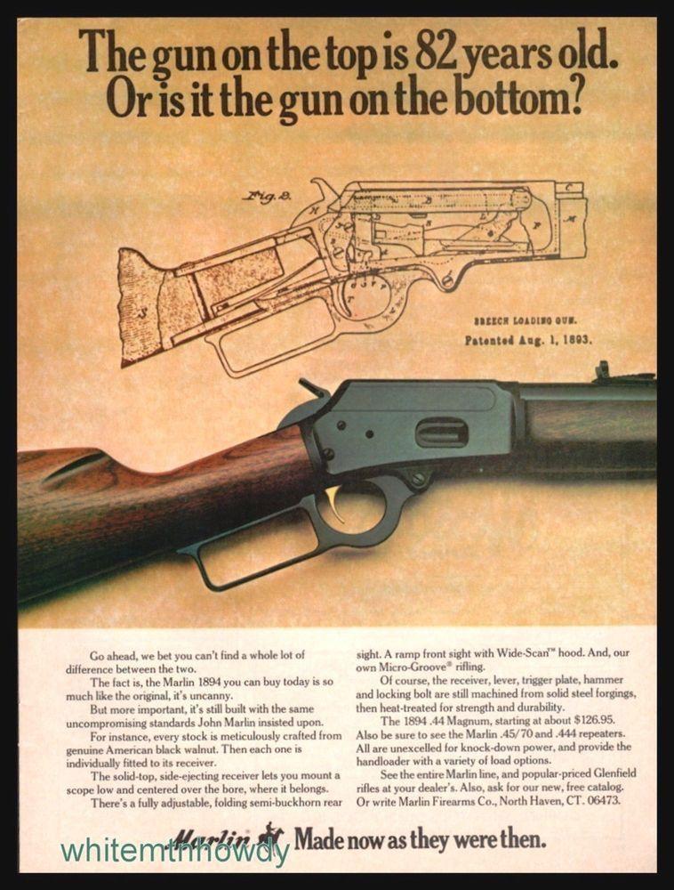 Vintage Marlin Firearms Gun Advert 1975 Model 1894 Rifle