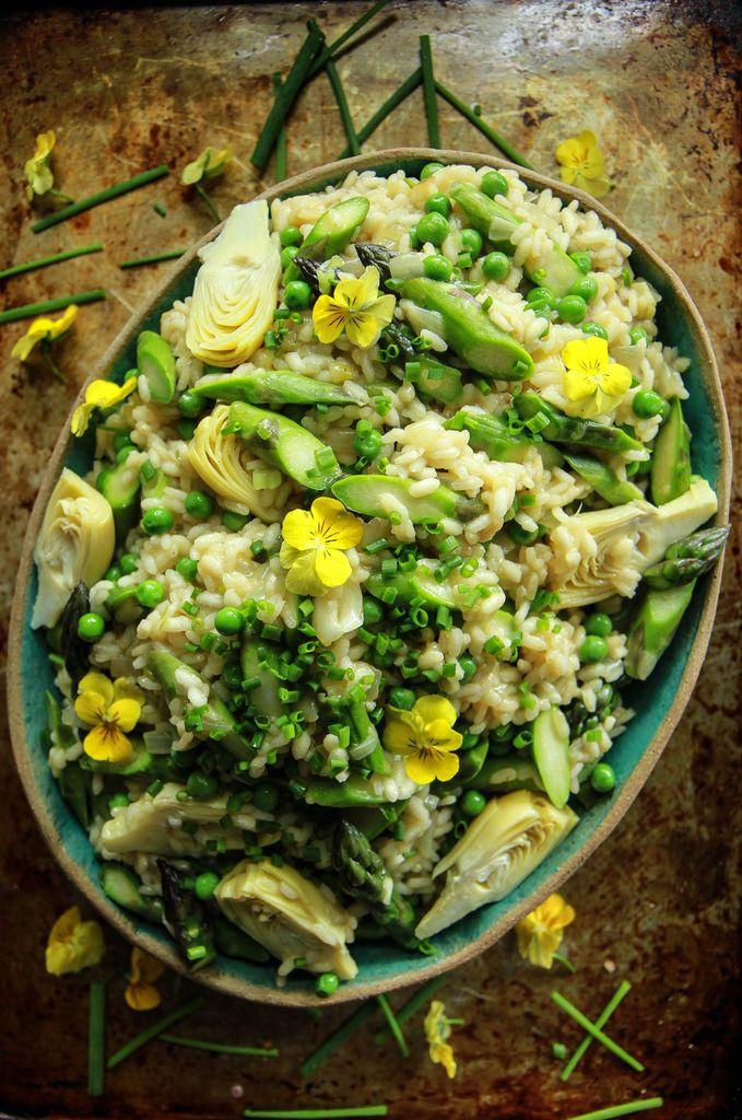 Vegan Artichoke Asparagus Pea And Green Onion Risotto