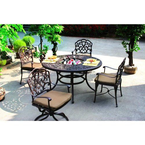 Baby Darlee Catalina Cast Aluminum Outdoor Patio - 52 inch round outdoor dining table