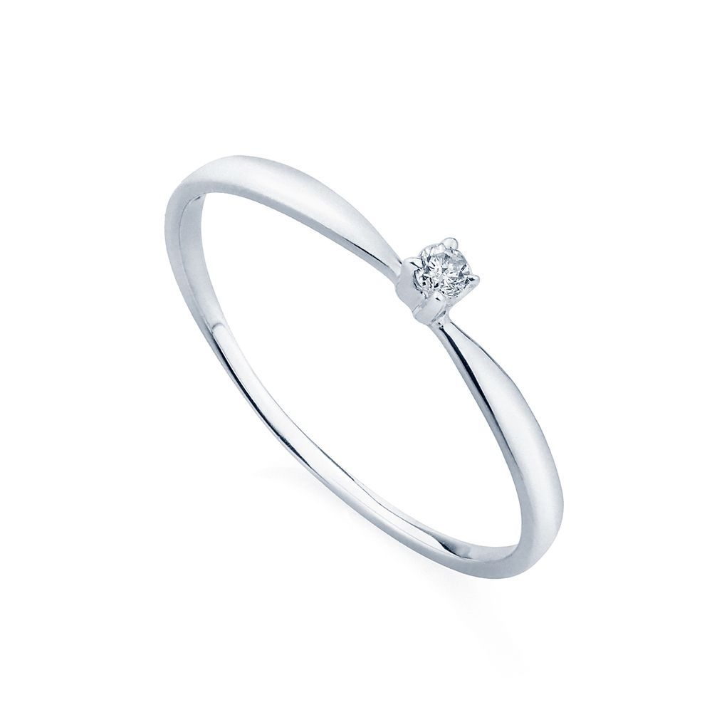 Anel Em Ouro Branco 18k Solitario Com Diamante De 3 Pontos An34022