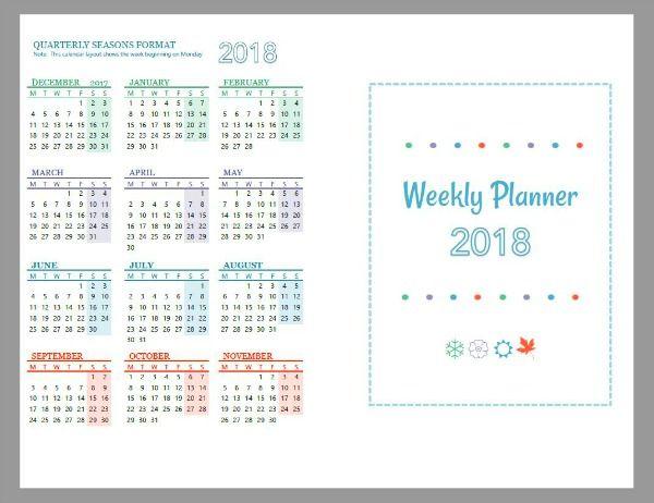 2018 Free Printable Planner Pages Free printable planner