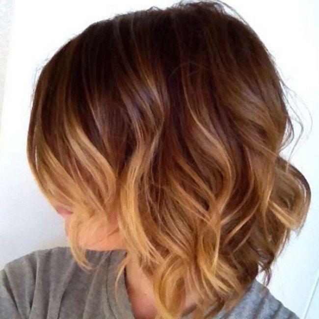 Balayage cabello corto. Base castaño medio, con Balayage Dorado cobre.