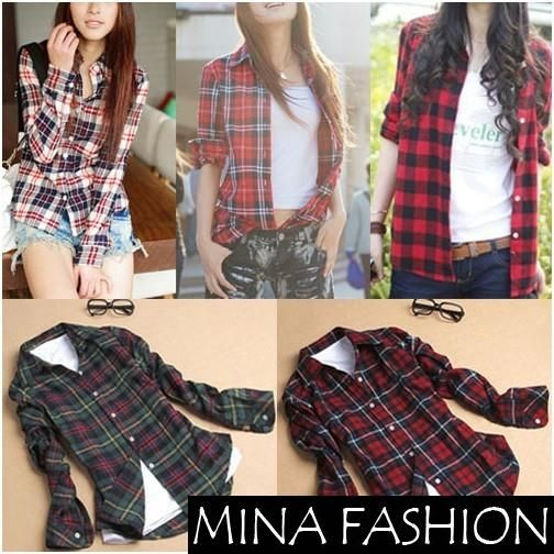 Women Button Down Casual Lapel Shirt Plaids Checks Flannel Shirt ...