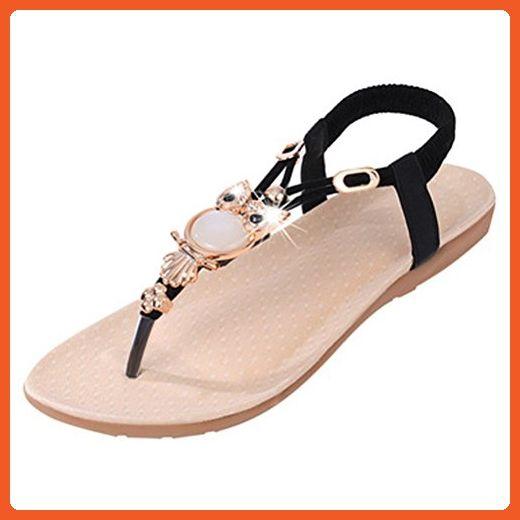 cb35a75755c9f Donalworld Girl Owl Summer Sandals Bead Flat T-strap Shoes Black ...