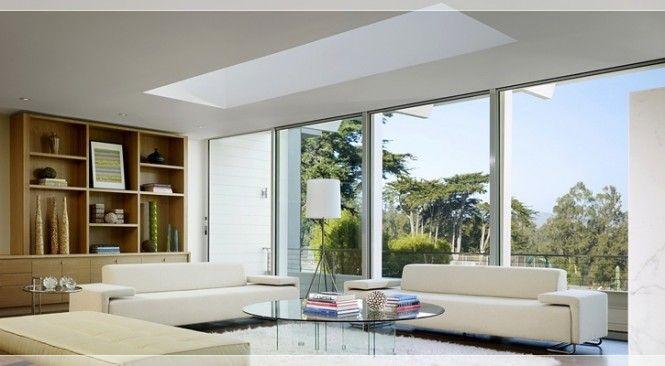 Modern Living Room With Skylight In 2020 Skylight Living Room Living Room Designs Interior Design