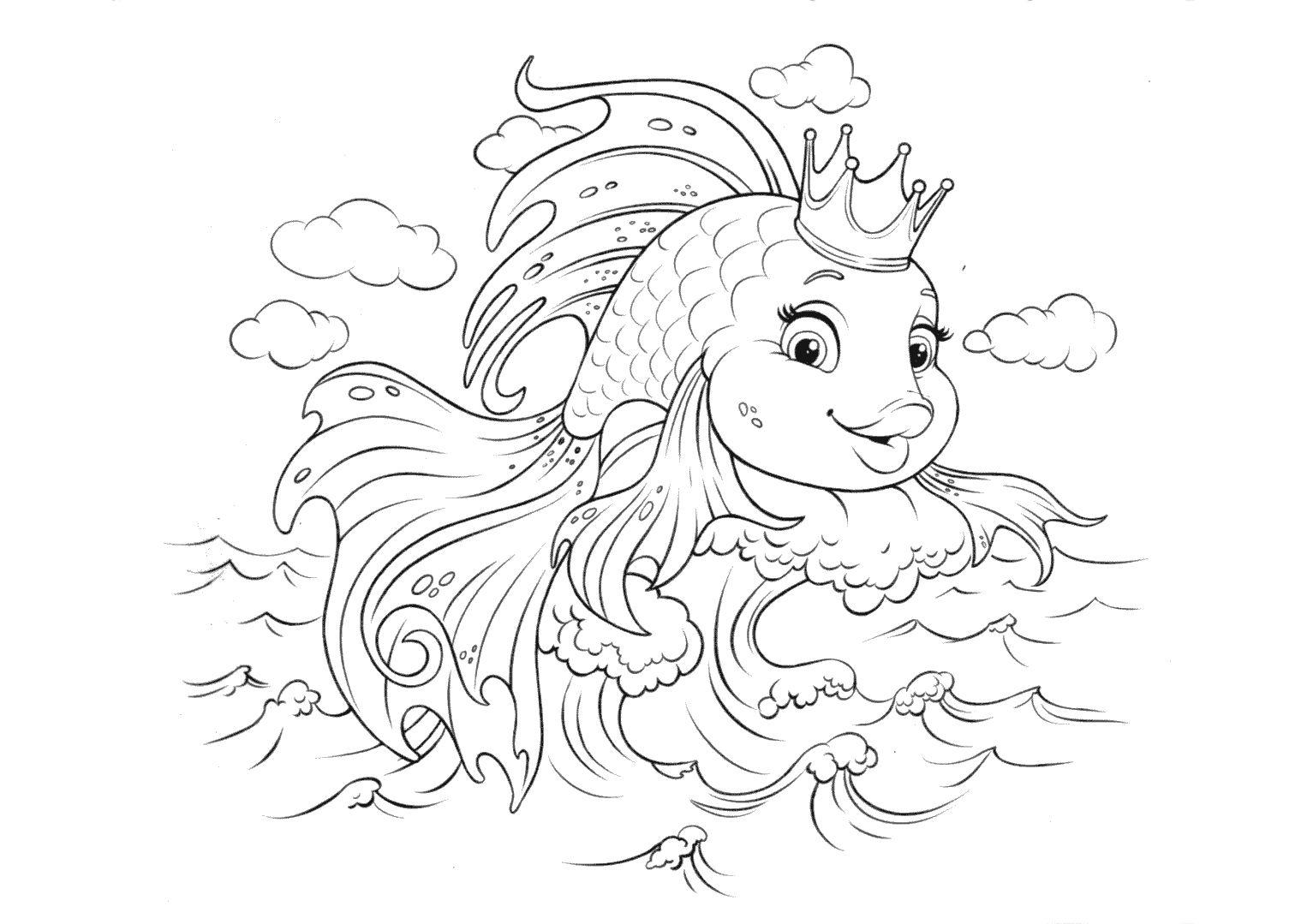 Золотая рыбка с короной - razukrashki.com | Золотая рыбка ...
