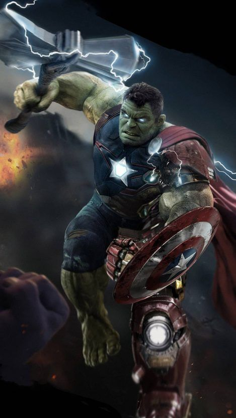 Hulk Lifts Thor Stormbreaker Iphone Wallpaper Marvel Superheroes