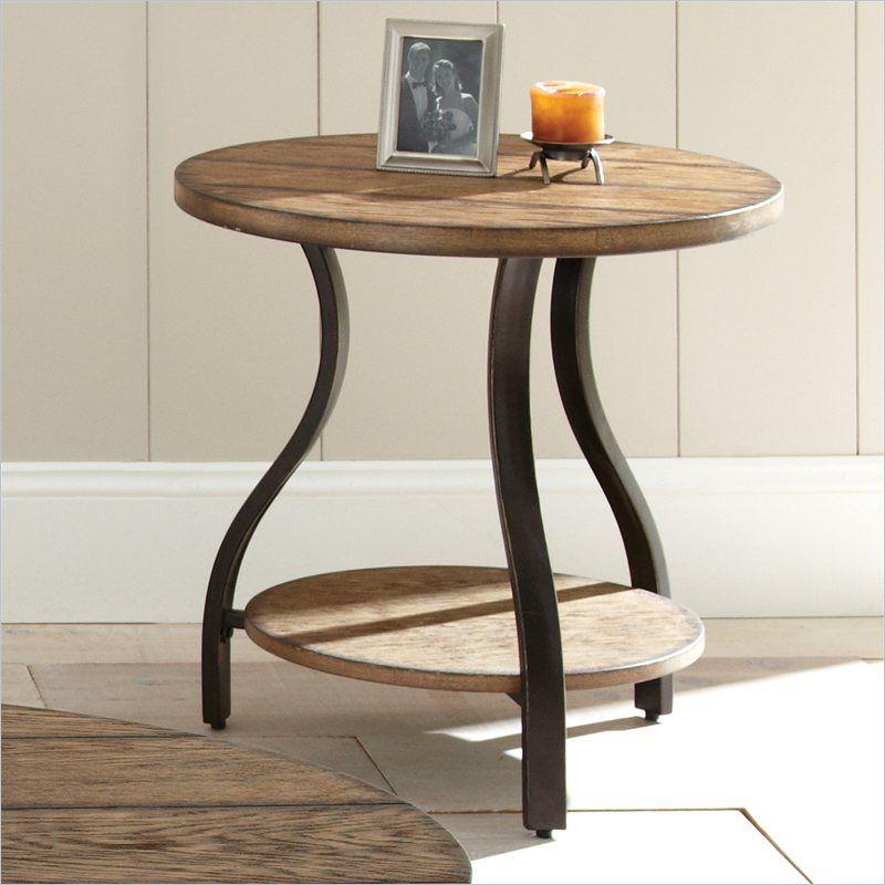 Steve Silver Company Denise Round End Table In Light Oak Finish