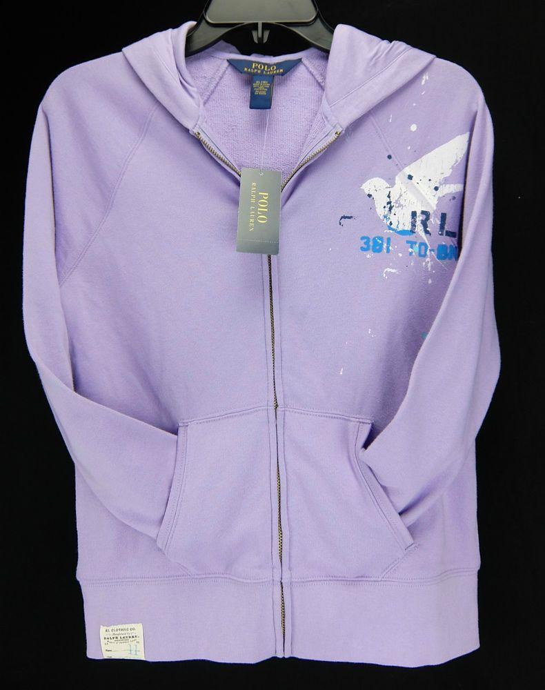 63e0ddf6 Polo Ralph Lauren Girls Hoodie Zip Front Lilac Purple Size S 7 M 8 ...