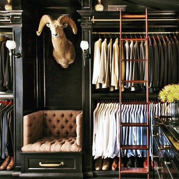 Awesome Masculine Mens Closet Design With Ladder (600×600) | All Things Luke |  Pinterest