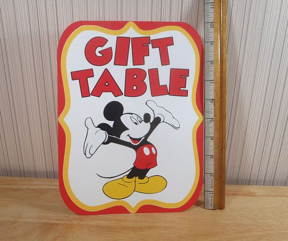 Mickey Mouse Birthday Party Sign, Gift Table Sign Party Decoration, Mickey Mouse Clubhouse Party by FeistyFarmersWife