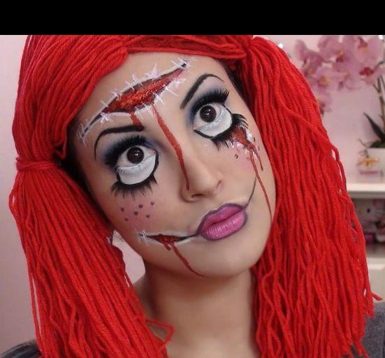 Pin By Jesse Preston On Halloween Costume Make Up Rag Doll Makeup Doll Makeup Halloween Scary Doll Makeup
