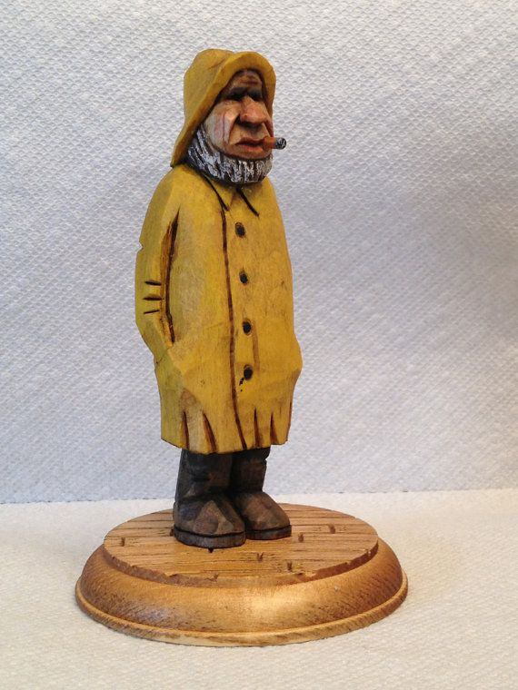 Hand carved old salty the fisherman wood carving handmade