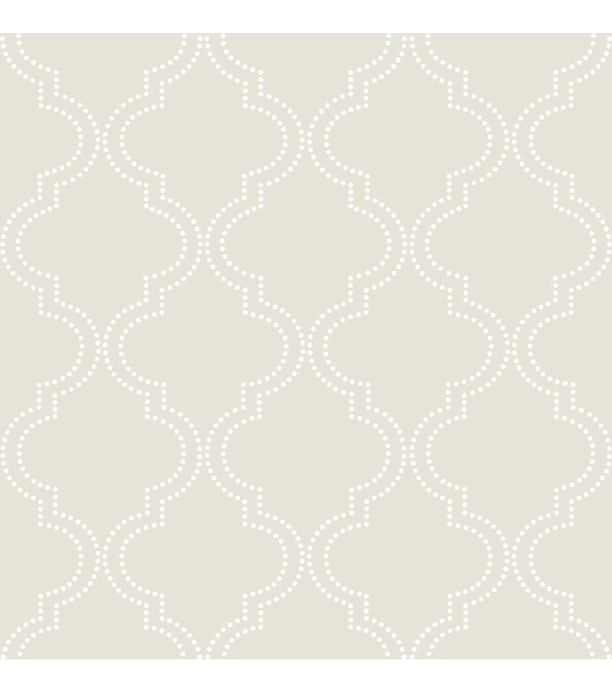 Kitchen wallpaper border  WallPopsNuWallpaper Taupe Quatrefoil Peel And Stick Wallpapernull