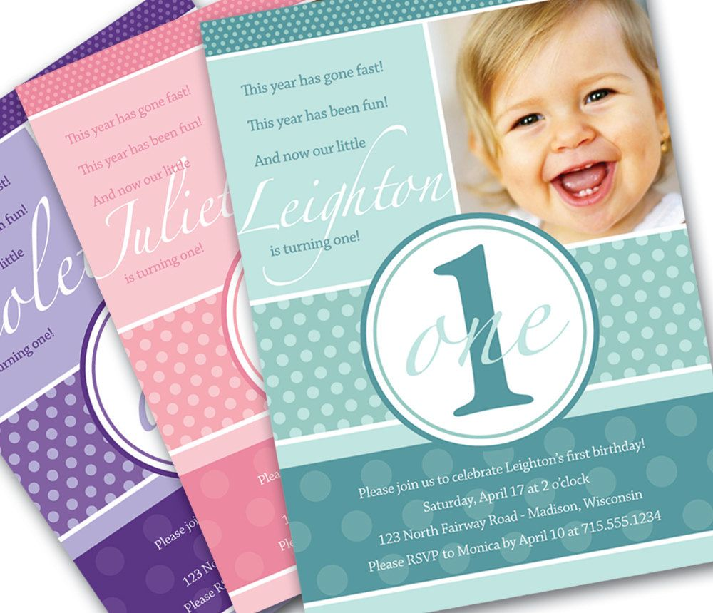 First birthday invitation pretty dots custom photo printable first birthday invitation pretty dots custom photo printable invitation 1 year old girl or boy turqouise pink purple or custom color stopboris Choice Image