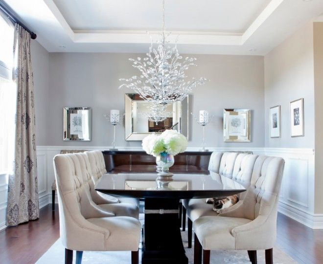 Cool Mirrored Buffet Technique Montreal Transitional Dining Room Remodeling  Ideas With Beige Curtains